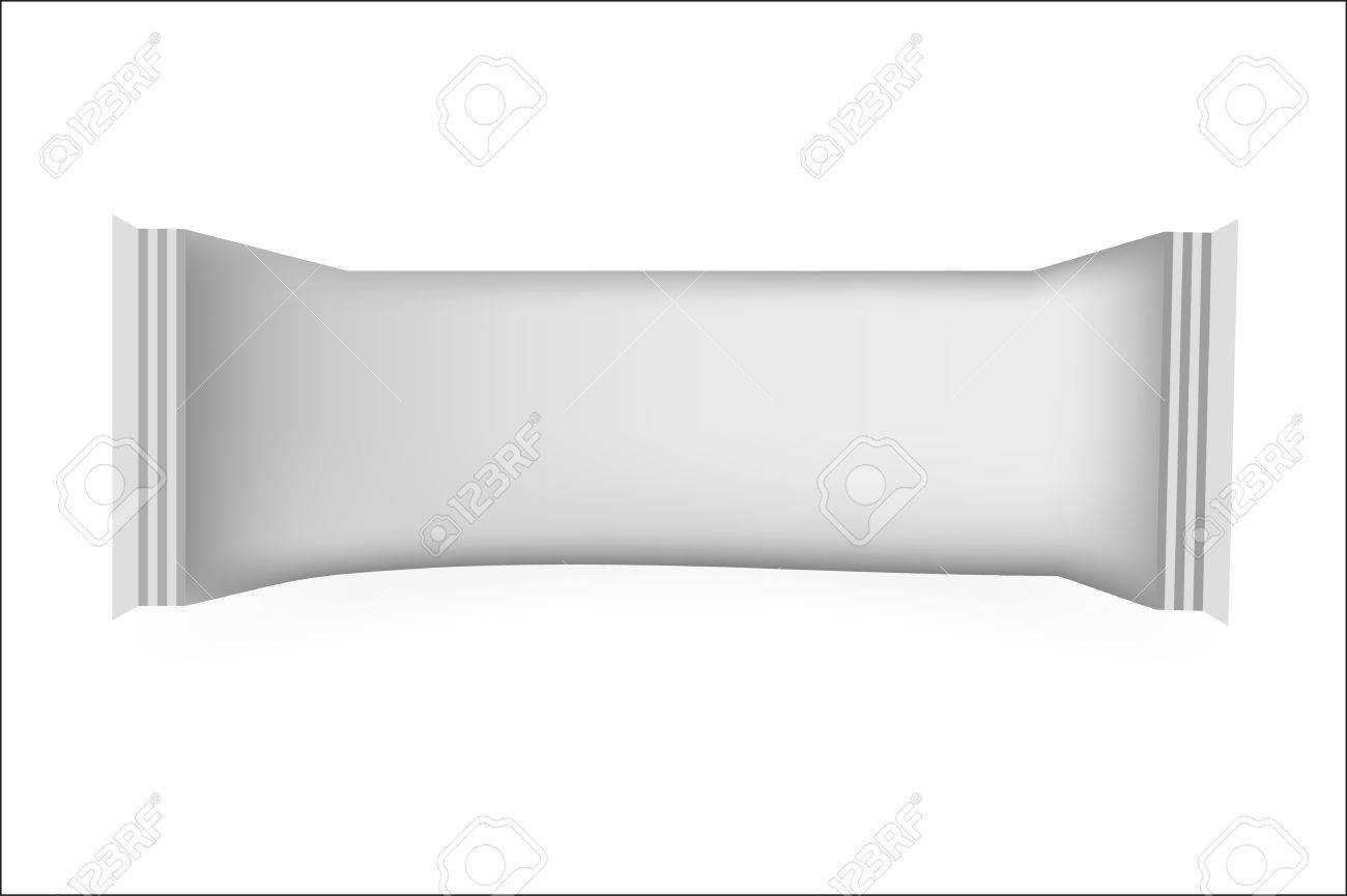 White Blank Food Packaging For Biscuit, Wafer, Crackers, Sweets,.. Within Blank Candy Bar Wrapper Template